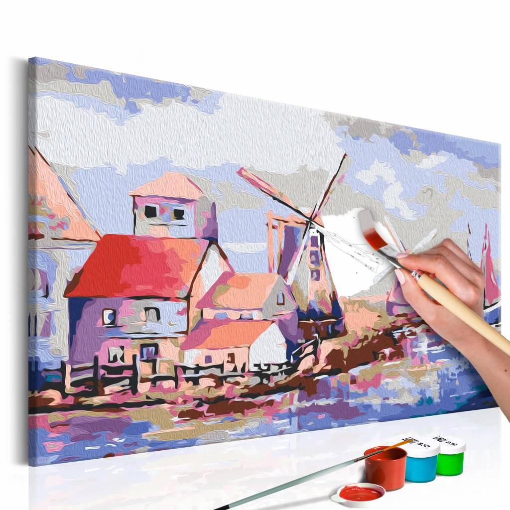 Doe-het-zelf op canvas schilderen - Windmolen (Landschap) 60x40cm