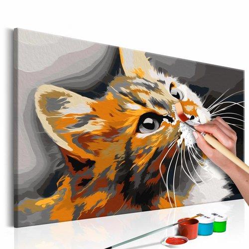 Doe-het-zelf op canvas schilderen - Poes, Kitten 60x40cm