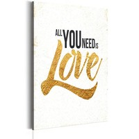 Schilderij - My Home: All you need is love, 1 deel, 2 maten , zwart bruin