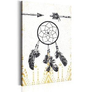 Schilderij - My Home: Dreamcatcher, 1 deel, 2 maten , zwart wit