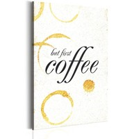Schilderij - My Home: Coffee, koffie, 1 deel, 2 maten , zwart wit