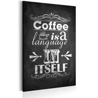Schilderij - Coffee Language, Koffie,Zwart /Wit