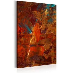 Schilderij - Dans van de elementen, 1 deel, 2 maten , rood bruin