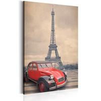 Schilderij - Retro Parijs, 1 deel, 2 maten , beige rood