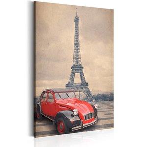 Schilderij - Retro Parijs, Beige/Rood, 1luik