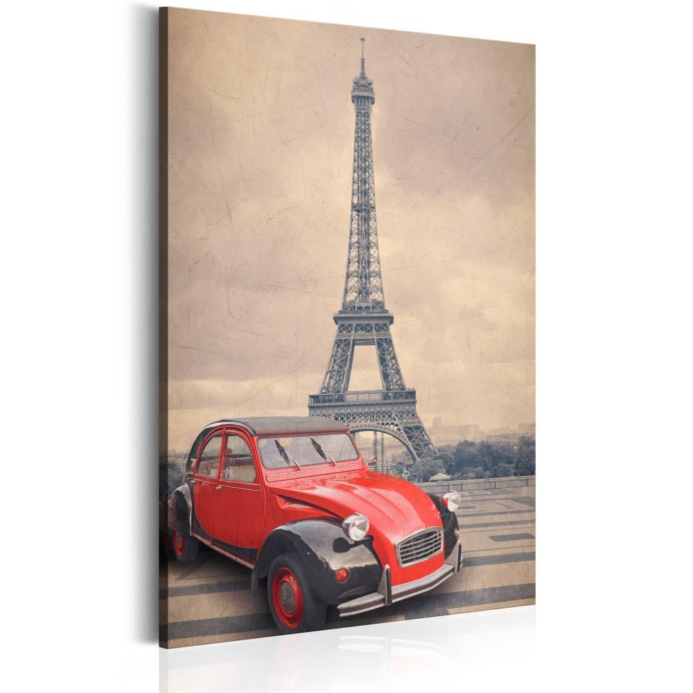Schilderij - Retro Parijs, Beige/Rood