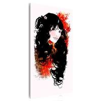 Schilderij - Mooi meisje, 1 deel, 1 maat , rood zwart