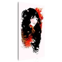 Schilderij - Mooi Meisje,  Rood/Zwart, 1luik