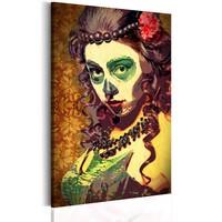 Schilderij - Mexican Skull,  Groen/Bruin , 1luik