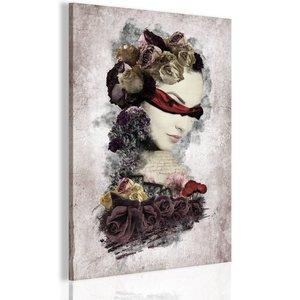 Schilderij - Mysterieuze dame 1 deel, 2 maten , multi kleur