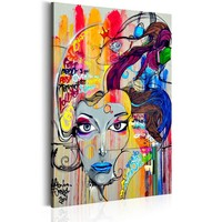 Schilderij - In Gedachten, Multikleur, 1 deel