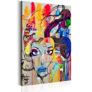 Schilderij - In gedachten, multikleur, 1 deel, 2 maten