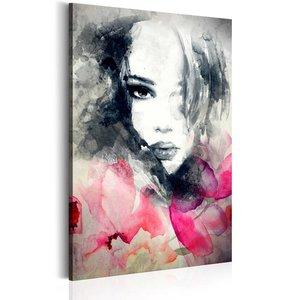 Schilderij - Portret van spijt, 1 deel, 2 maten , roze grijs