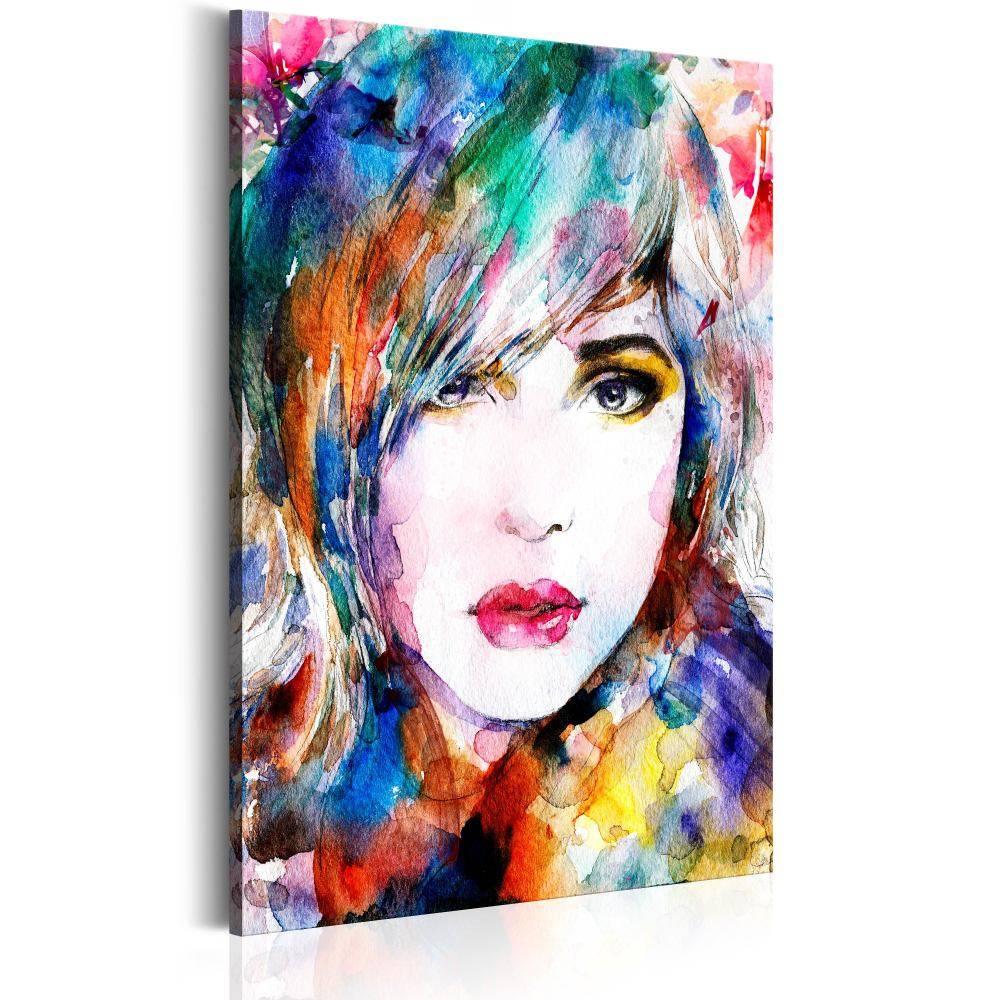 Schilderij - Regenboog dame , Multi kleur