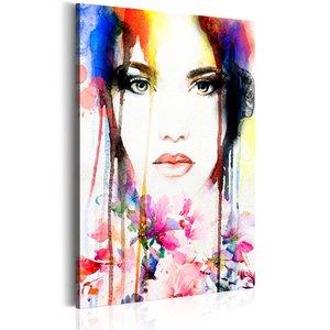 Schilderij - Dame in kleur, 1 deel, 2 maten , multi kleur