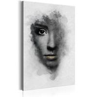 Schilderij - Grijs portret, Zwart/Wit
