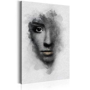 Schilderij - grijs portret, zwart/wit, 1 deel, 2 maten