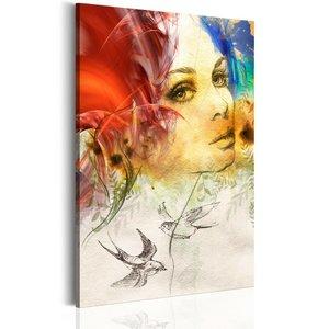Schilderij vurige dame 1 deel, 2 maten , multi kleur