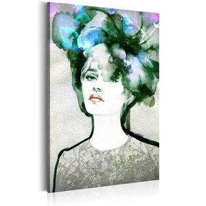 Schilderij - Vrouw in het groen, 1 deel, 2 maten , grijs