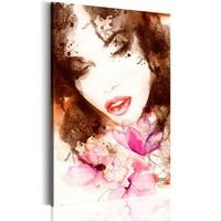 Schilderij - Vrouw met bloemen, Multi kleur , 1luik