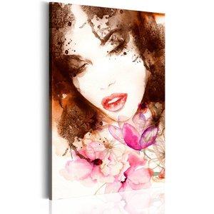 Schilderij - Vrouw met bloemen, 1 deel, 2 maten , multi kleur