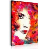 Schilderij - Vrouw met klaprozen, Rood/Wit