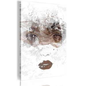 Schilderij - Beauty in Her Eyes, 1 deel, 2 maten , wit bruin