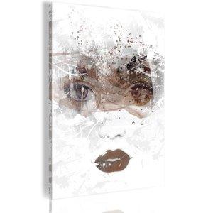Schilderij - Beauty in Her Eyes, Wit/Bruin
