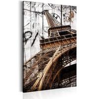 Schilderij - Groeten uit Parijs  , Wit/Bruin