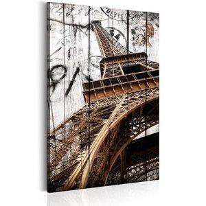 Schilderij - Groeten uit Parijs 1 deel, 2 maten , wit bruin