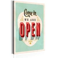 Schilderij - Come in, we are open,Rood/Groen