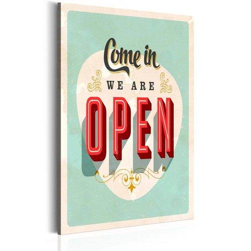 Schilderij - Come in, we are open, 1 deel, 2 maten , rood groen