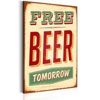 Schilderij - Free Beer Tomorrow,  Rood/Groen , 1luik