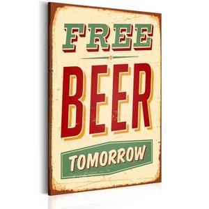Schilderij - Free Beer Tomorrow, 1 deel, 2 maten rood groen