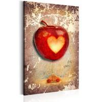 Schilderij - Appel met een hart, 1 deel, 2 maten , beige rood