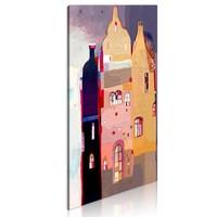 Schilderij - Prachtig herenhuis,   Multi kleur, 40x80cm