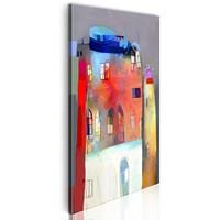 Schilderij - Regenboog huis,  Multi kleur, 40x80cm