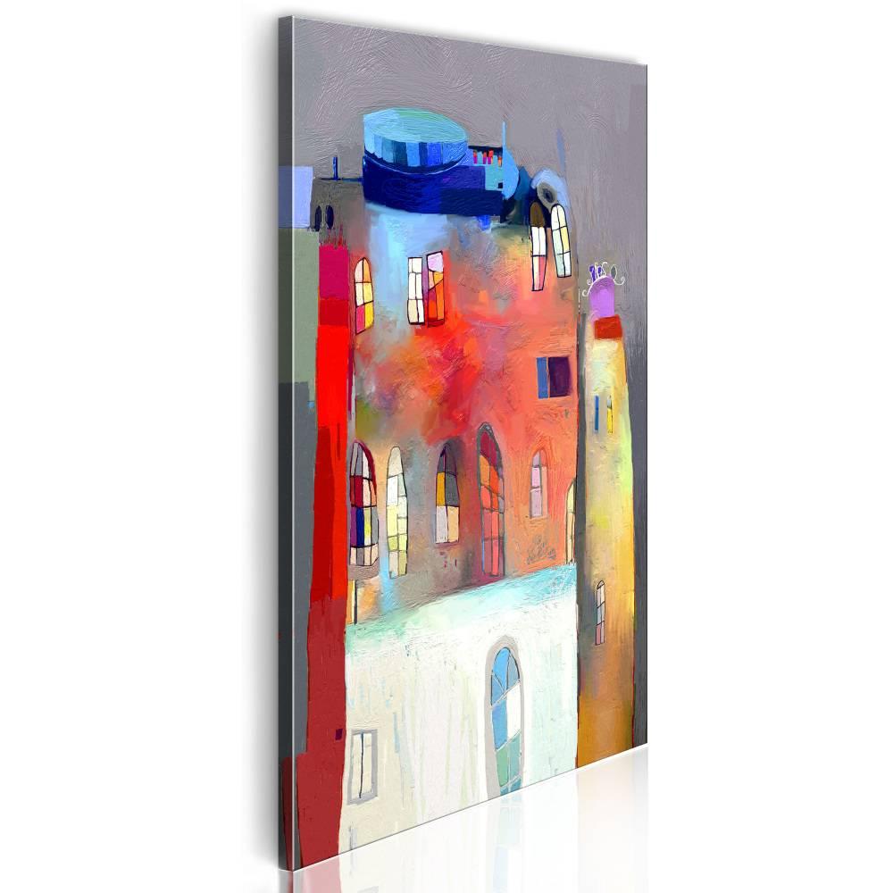 Schilderij - Regenboog huis, 1 deel, 1 maat , multi kleur