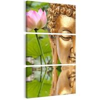 Schilderij - Beeld met bloem, groen goud look , 3 delen, 1 maat
