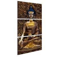Schilderij - Schat van het Boeddhisme,  Bruin , 3luik