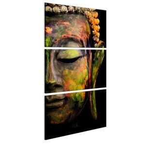 Schilderij - Grote Boeddha,  Oranje/Groen, 3luik