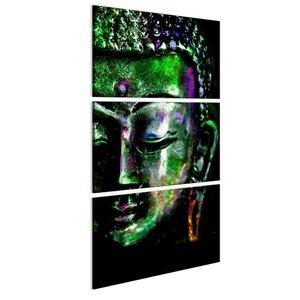 Schilderij - Boeddha in het groen, 3 delen, 2 maten , zwart