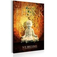 Schilderij - What we think, we become, Kleine Boeddha, Oranje/Zwart , 1luik