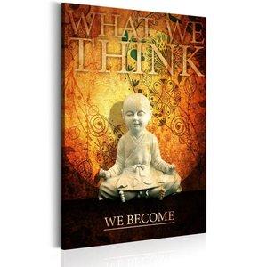 Schilderij - What we think, we become, kleine Boeddha, 1 deel, 2 maten , oranje zwart