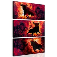 Schilderij - Kracht van een stier, 3 delen, 2 maten , rood zwart