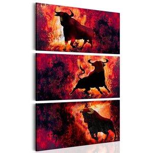 Schilderij - Kracht van een stier, 3 delen, 2 maten