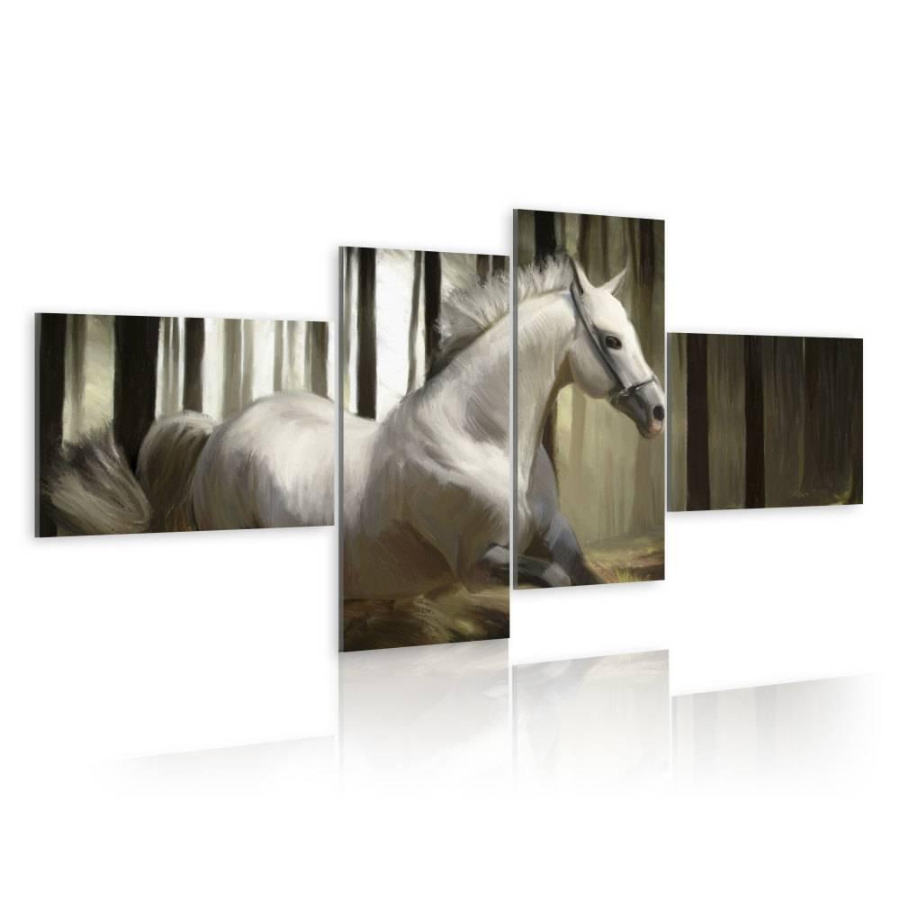 Schilderij - Schimmel, paard, 4 delen, 2 maten , wit beige