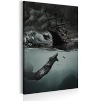Schilderij - Geheimen van de Oceaan,  Grijs/Zwart