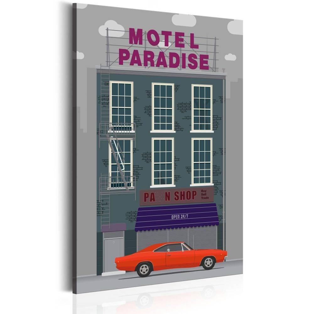 Schilderij - Motel Paradise, 1 deel, 2 maten , multi kleur