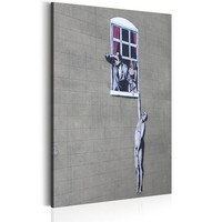 Schilderij - Well Hung Lover by Banksy ,  Wit/Grijs